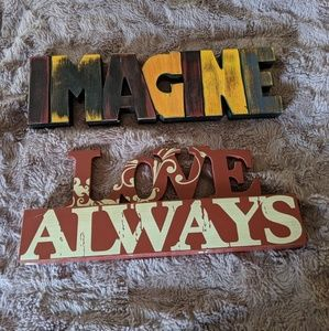 2 Wooden Signs: Love Always & IMAGINE